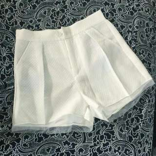 High Waisted White Short