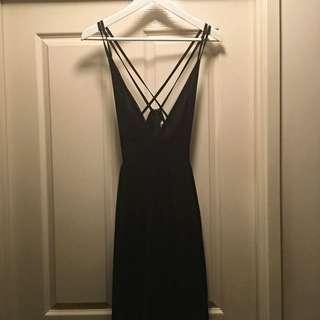Navy Blue Low Cut Maxi Dress