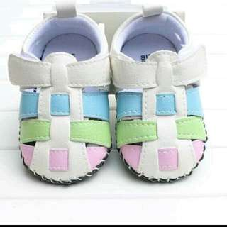 夏款寬楦頭防滑膠片底嬰幼兒學步涼鞋