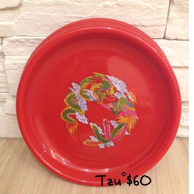 喜氣8寸丸皿盤子(拜拜專用),共六入,二手商品。
