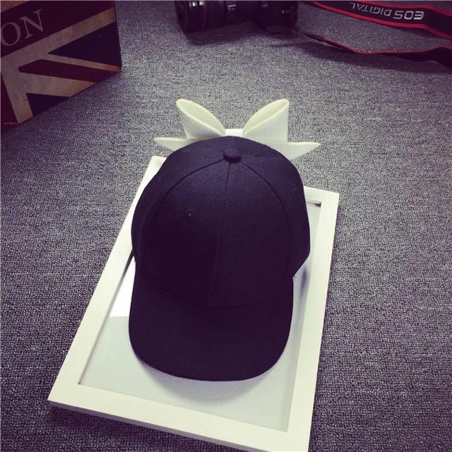 撞色大蝴蝶結帽帽-黑