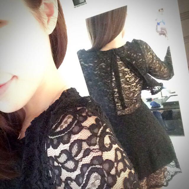 黑蕾絲透膚洋裝