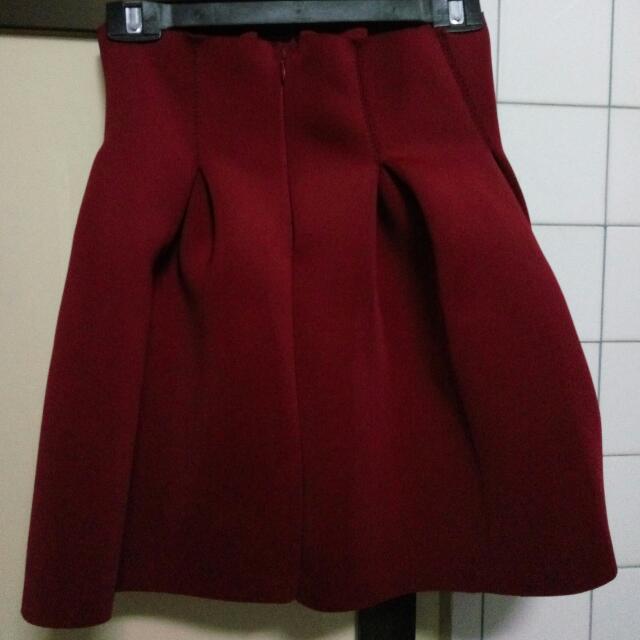 酒紅太空棉裙