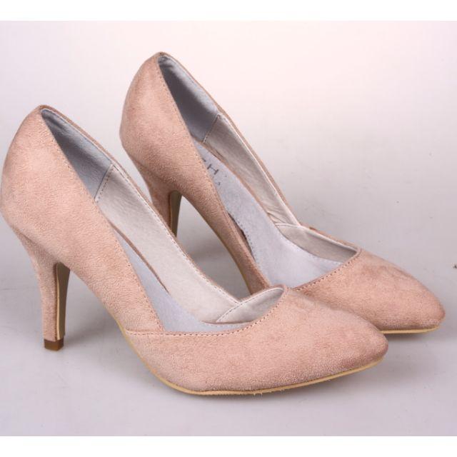 尺碼不合虧本轉賣,超美尖頭裸膚色高跟鞋 女鞋