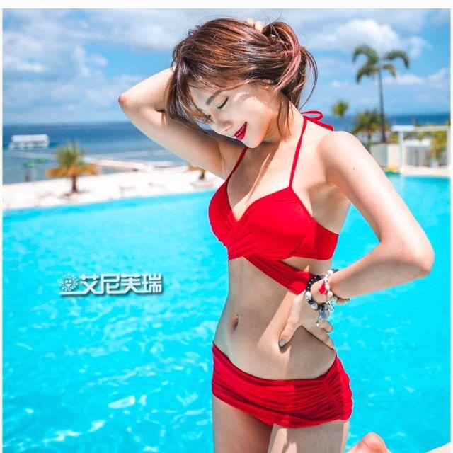轉賣含郵寄運 全新紅色泳裝比基尼有鋼圈 顯瘦