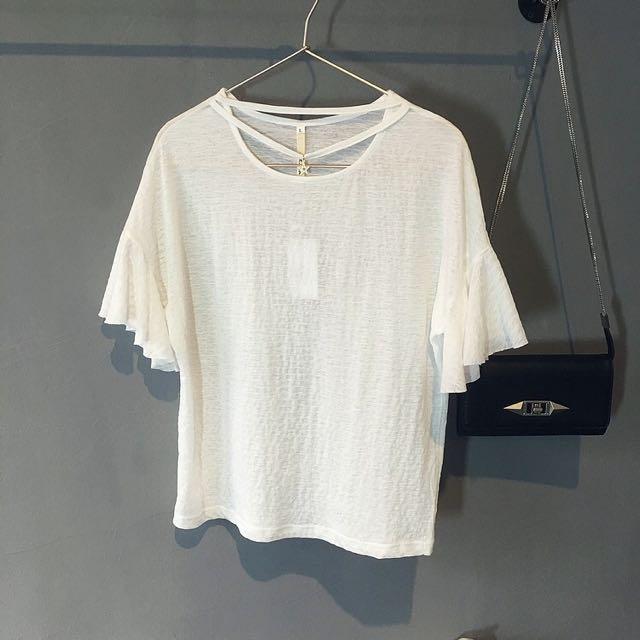星星墜飾荷葉袖設計款上衣-白