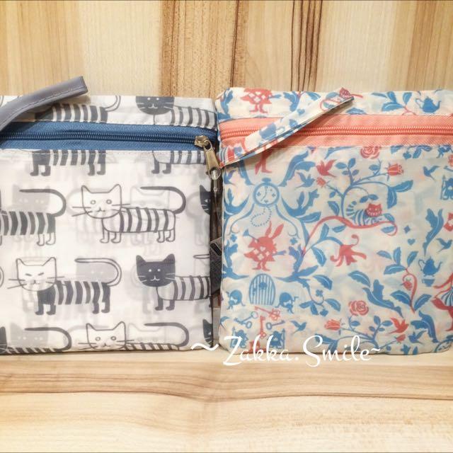 日貨可收納購物袋 售價:$200(特價) 現貨:各一(貓咪&愛麗絲款)