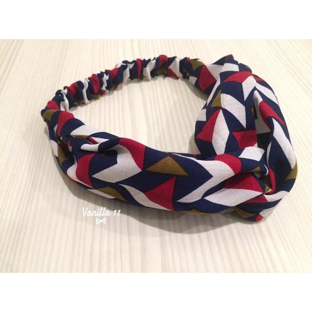 韓 幾何圖形 紅 藍 白 鬆緊 交叉 髮帶 2016