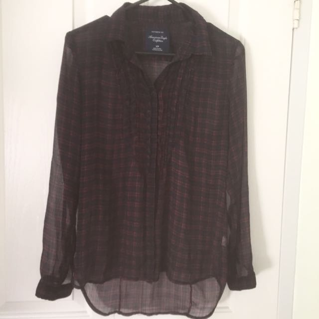 American Eagle Sheer Plaid Shirt