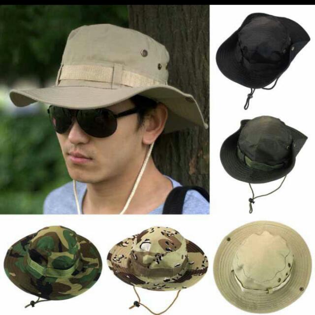 2588ca8793e Fashion Bucket Hat Boonie Hunting Fishing Outdoor Wide Cap Brim ...