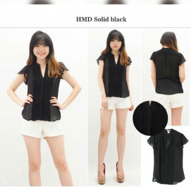 H&M (New) Blouse Solid Black