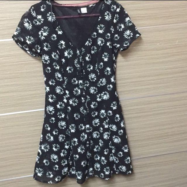 H&M 小花 修身顯瘦洋裝