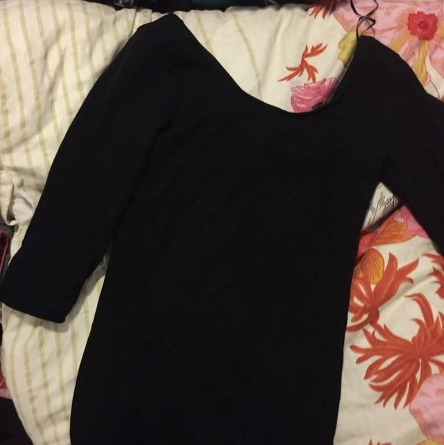 H&M Black Mid Sleeve Dress