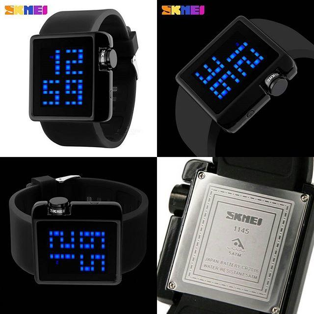 Jam Tangan Pria SKMEI Sport Rubber LED - Black, Men's Fashion on Carousell