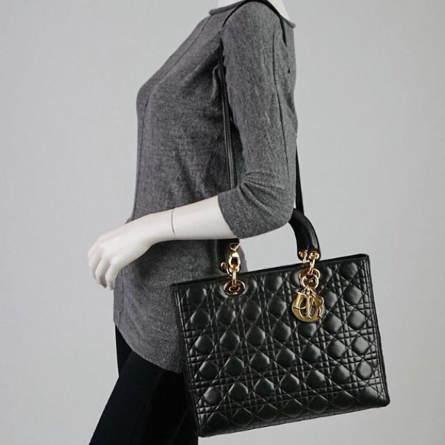 ( Sold ) LARGE Lady Dior In Black Lambskin   GHW With Strap c0be0ee7560e9