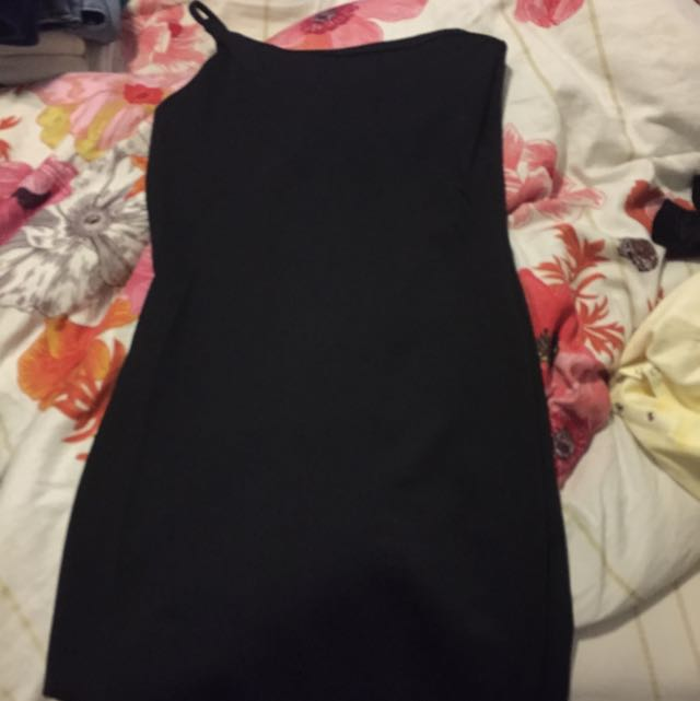 One Shoulder Asymmetric Black Dress