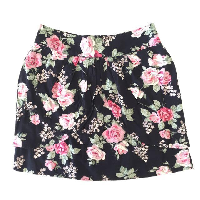 Overlap floral skirt