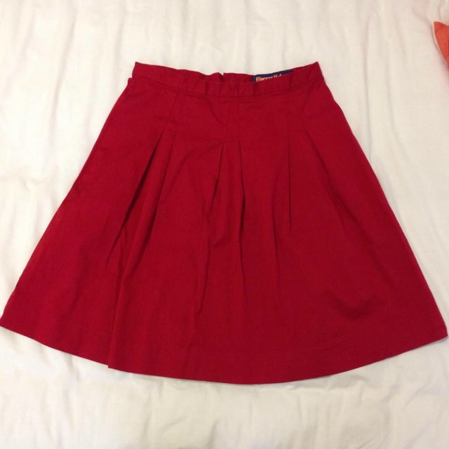 ON HOLD- Princess Highway Red Pleated Skirt