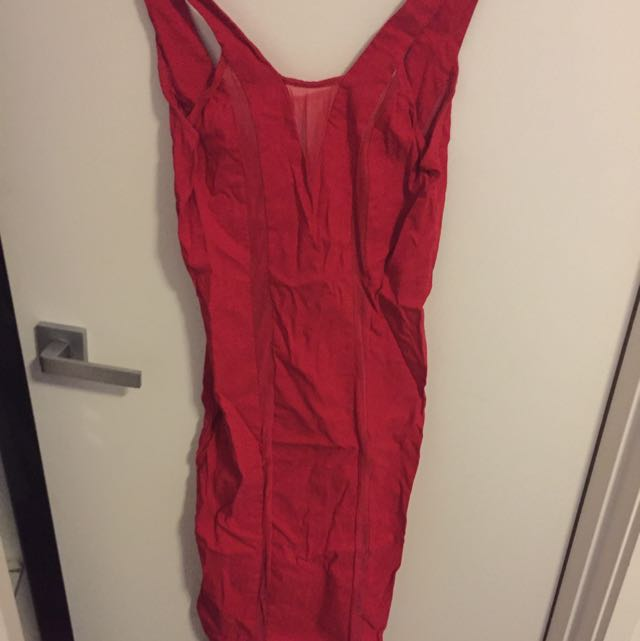 Red Dress With Mesh Inserts