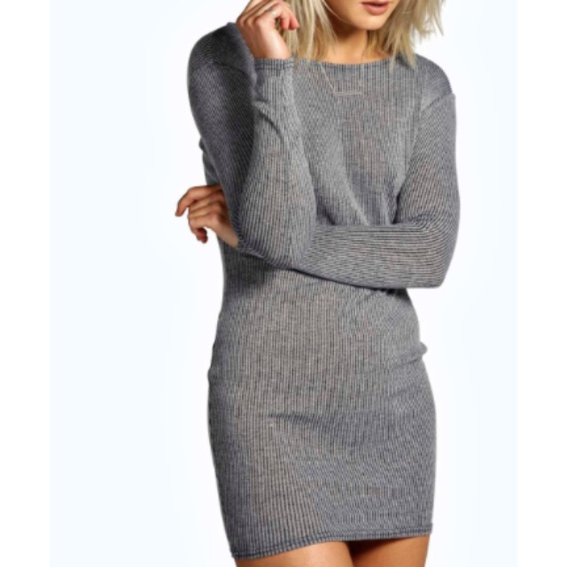 Ribbed Long-Sleeve Dress
