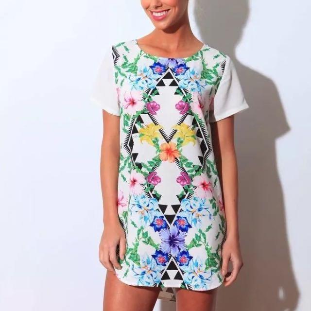 SAINTS + SECRETS Graphic Print Mini Dress Sz 8 AS NEW