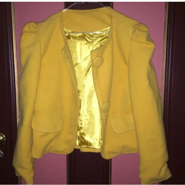 Yellow Pea Coat With Big Buttons AS NEW