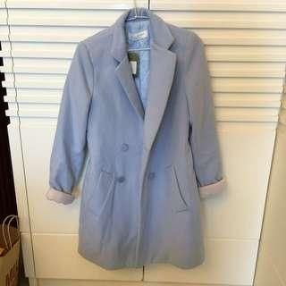 水藍色baby Blue韓版大衣 S