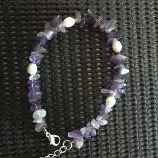 2 Bracelets - Amethyst/Pearl and Sterling Silver Opal Dolphins