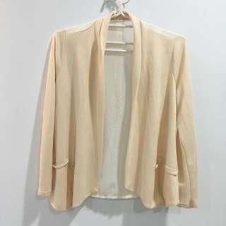 全新💯雪紡+針織杏色小外套