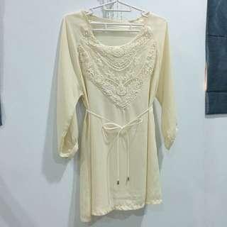 全新💯附綁帶縮腰杏色雪紡長袖上衣 縷空設計