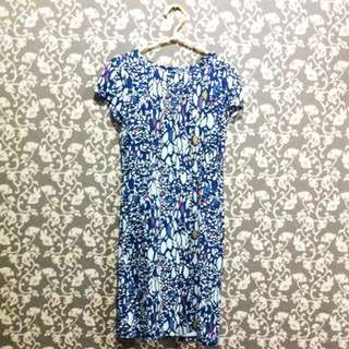 Eprise - Blue White Printed Dress