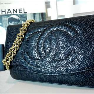 Chanel 黑色荔枝皮 WOC