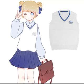 Baby Seal White Vest Jk Style Student Look