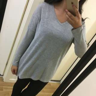 Grey V-Neck Knit