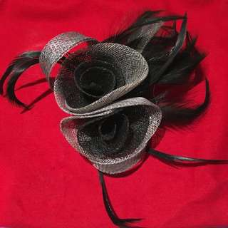 Black Rose Netting Hair Fascinator