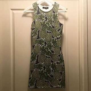 Paper Heart Body Con Pineapple Dress