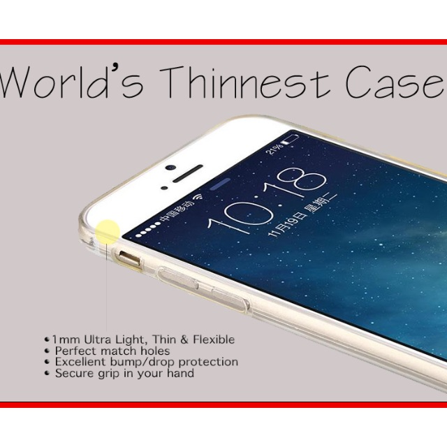1MM WORLD'S THINNEST PREMIUM TPU SOFT CASE for iPHONE 6 / 6S / 6 PLUS / 6S PLUS, SAMSUNG GALAXY S6 / S6 EDGE!