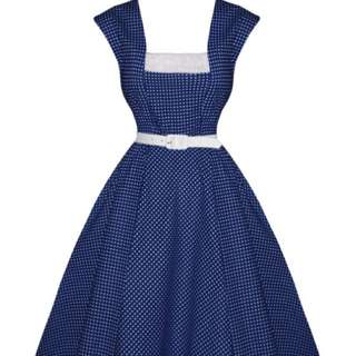 Hell bunny Navy And White Mini Polka Dot Dress