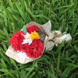 手工訂製 小花束 紙做 玫瑰 康乃馨 花