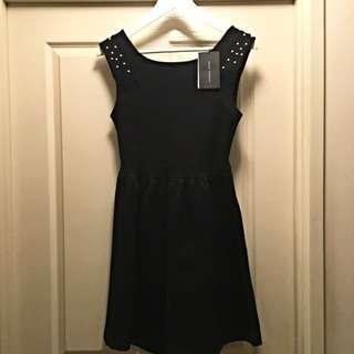 ZARA Black Dress With Gold Studs
