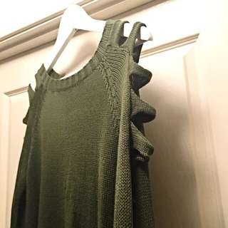 Khaki Knit Jumper With Cutout Sleeves