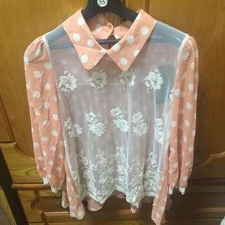 正韓貨。 橘色點點上衣。 全新。原價$2980元