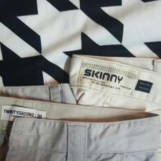 Topman Skinny Jeans (Beige) & TwentySecond Bangkok Grey Pants