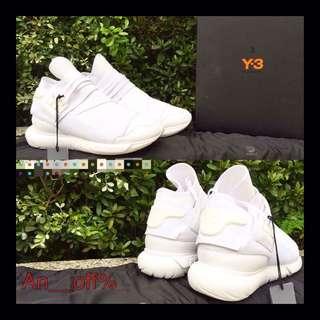 全白 Y-3 Qasa neoprene and leather trainers