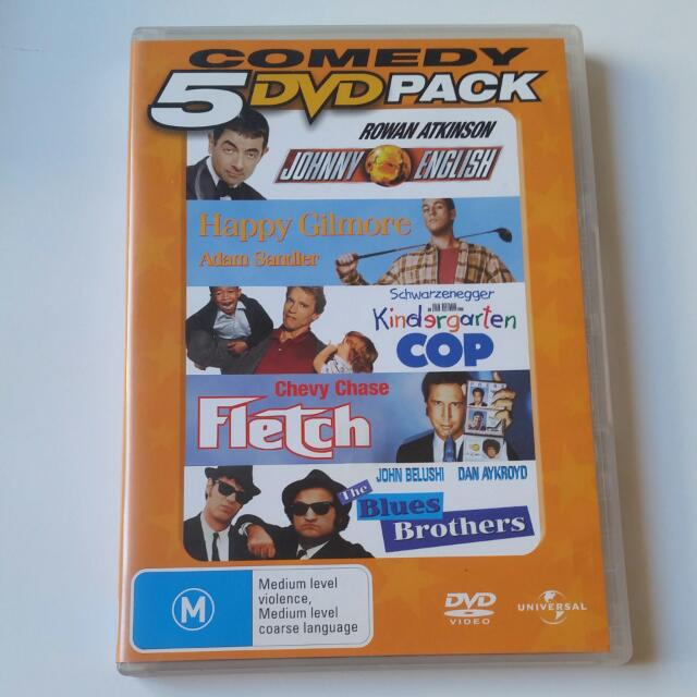 5 Dvd Pack - Johnny English, Happy Gilmore, Kindergarten Cop, Fletch & The Blues Brothers
