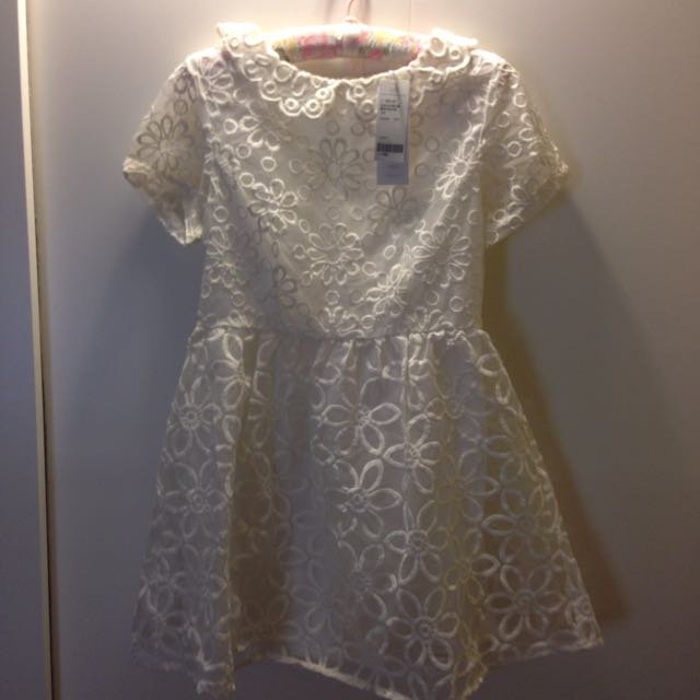 甜美波浪領花圈蕾絲短袖洋裝