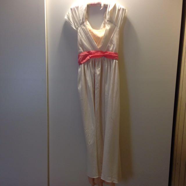 雙色拼長洋裝