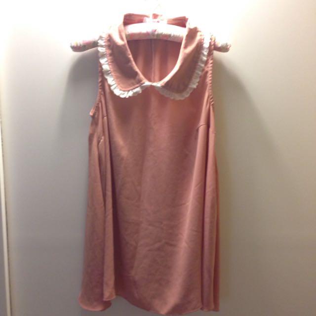藕粉色無袖長版上衣