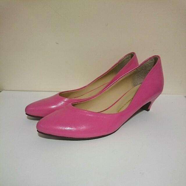正韓高跟淑女鞋~桃紅色
