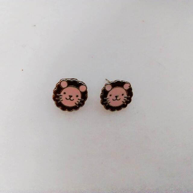 全新可愛獅子耳環